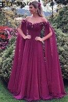 Элегантное с открытыми плечами фуксия фиолетовое вечернее платье с длинными рукавами 3D Цветочные Цветы шифон Длинные арабские Формальные