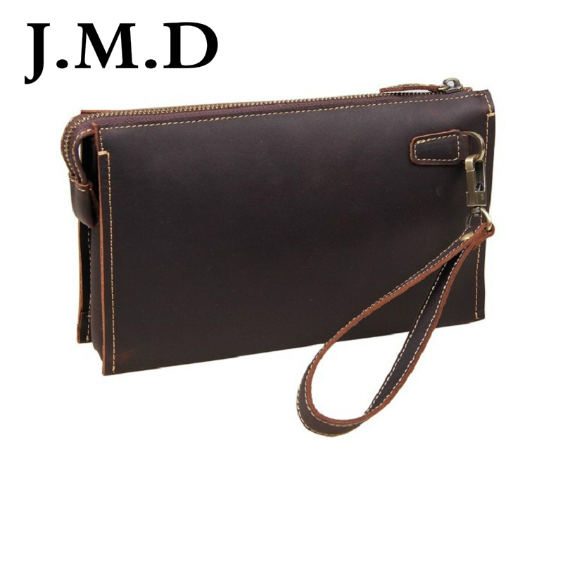 J.M.D 2017 New Arrival 100% Leather Wallet Classic Dark Brown Vintage Leather Mini Wallet Purse Key Case Men's Hand bag 8043 247 classic leather