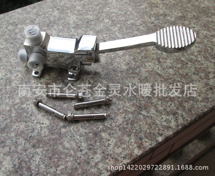 Hot And Cold Pedal Taps Pedal Self-closing 4 Points Copper Medical Foot Pedal Water Faucet Public Places