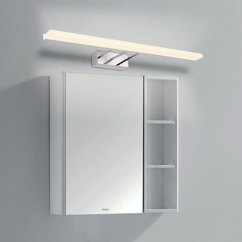 Modern 12W-24W Led Bathroom lamp Acrylic Lampshade Mirror Light Wall Lamp Stainless Steel Sconce Decor Home Lighting 220V 80cm modern led acrylic wall lamp 13w right angle style wall light bathroom mirror light stainless sconce home lighting fixtures