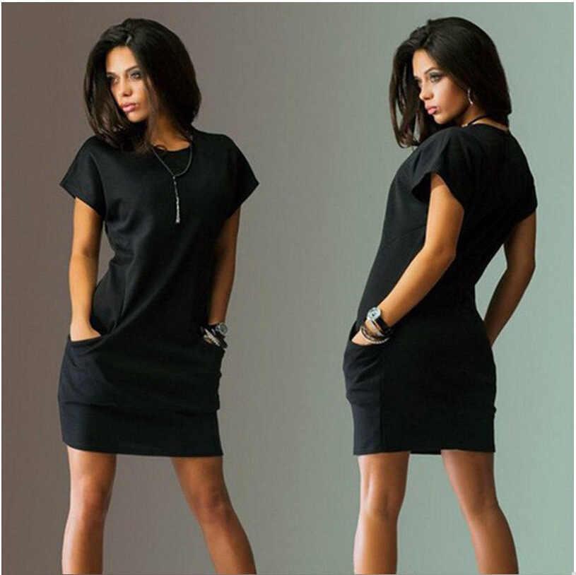 d47d925d7571 ... Summer T Shirt Dress Sexy Solid Short Sleeve O Neck Casual Women's  Bodycon Mini Dresses Pocket ...