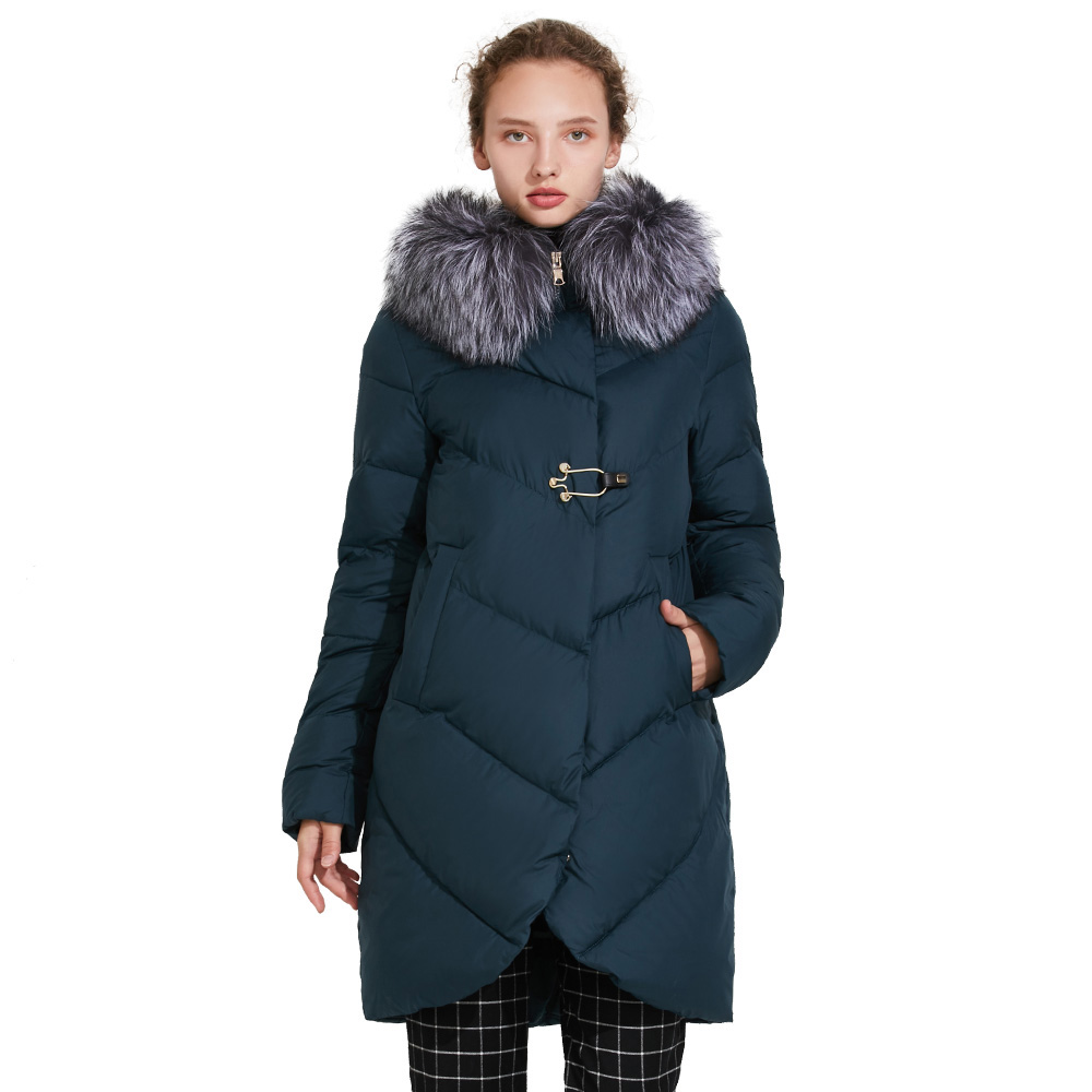 ICEbear 2018 Smooth Fur Collar Winter Jacket Women  Placket Decorative Buckles Zipper Double Layer Windproof Parka Coat 17G6529 new winter jacket women fashion down wadded coat female houndstooth fur collar cotton coat hooded parka casual jackets c1182