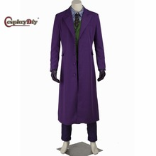 Cosplaydiy Movie The Dark Knight Clown Joker Cosplay Costume Adult Men Carnival Halloween Party Outfit Clothing Custom Made