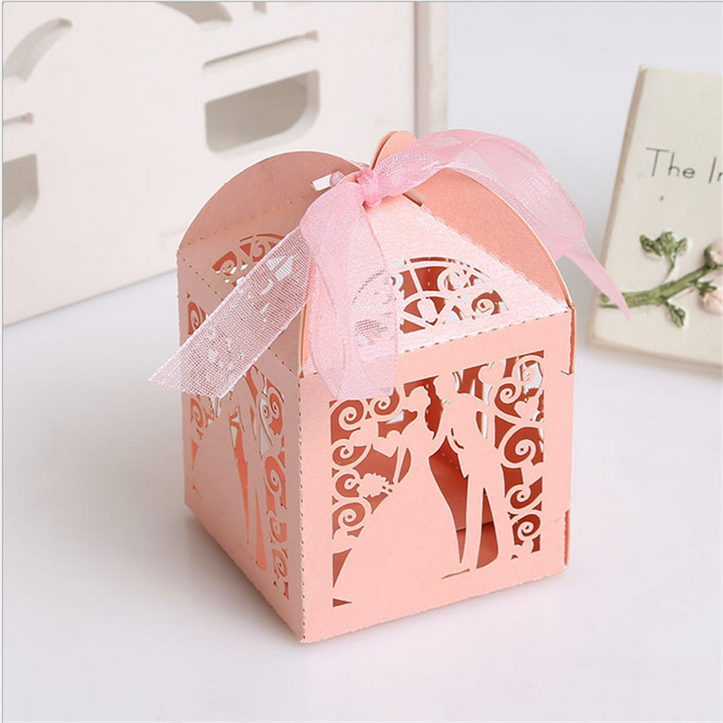 50pcs Laser Cut Bridegroom Candy Boxes Wedding Favor Gift Box