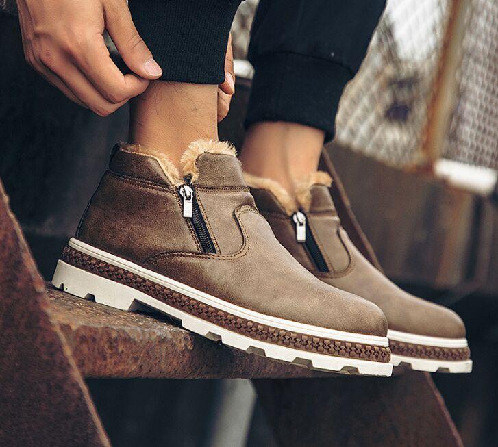 gris Zapatos marrón Diseñador Piel Invierno Moda Corta Caliente Negro Mantener Hombres Nueva Casuales Negro Masculinos De Felpa Botas 2018 1R4WqU
