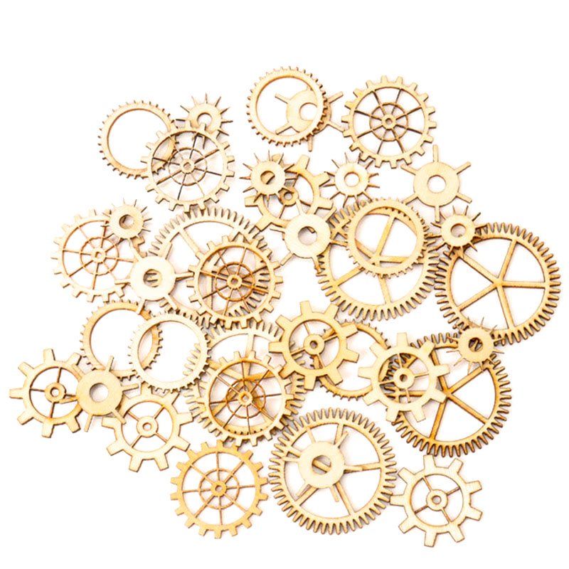 Mixed Wheel Gear Pattern Natrual Wooden Scrapbooking Hollow Craft Round Random For Handmade Home Decoration 20-36mm 36pcs MZ74