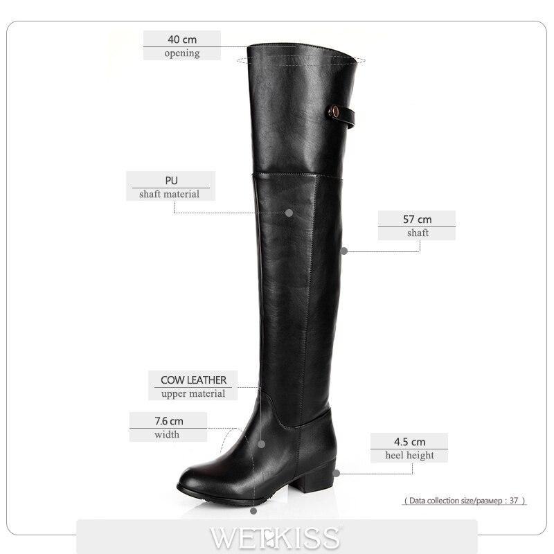 En Chaussures Plus Genou black Chunky Short Zipper Black Pluch Sur 33 Pu Véritable Talons Taille Wetkiss D'hiver Cuir 43 Le Plush Bottes Cuissardes Thick Femme Femmes wUAdZqZXy