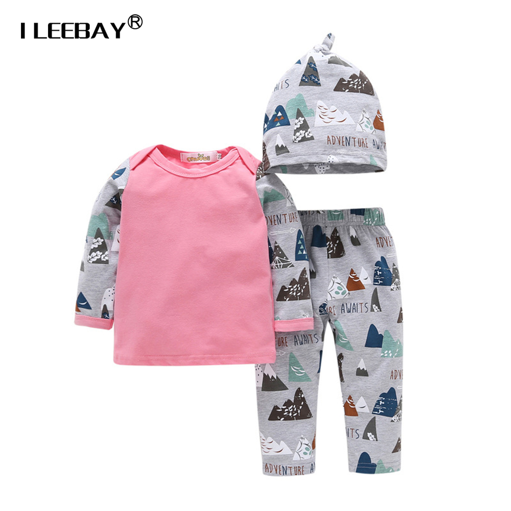 2018 Baby Girl Clothes Set Boy 3Pcs Cartoon Suit Pullover Baby Set Girl Autumn Outfit Toddler Newborn Bebe Boy Clothes 1-3T