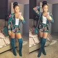 Impressão Shorts Mulheres 2 Peça Blazer + Calças Jumpsuit Mulheres Bodysuit OL Moda Clube Playsuit TE3112