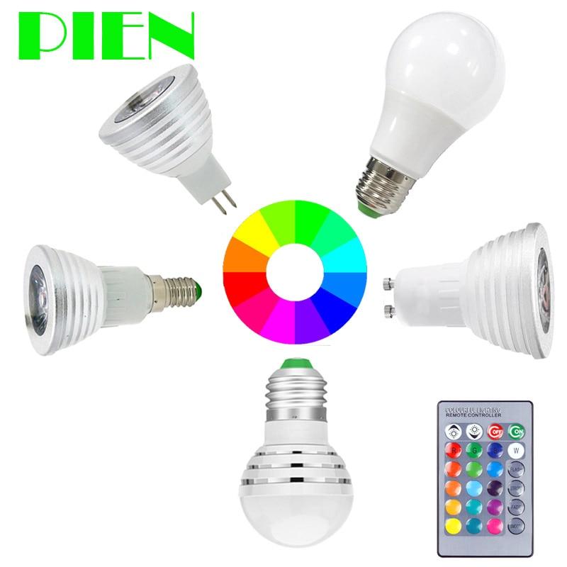 E27 E14 GU10 RGB LED Bulb Lamp MR16 3W 5W Dimmable Bombillas Ampoule 110V 220V 12V + Remote Control For Home Decor Free Shipping