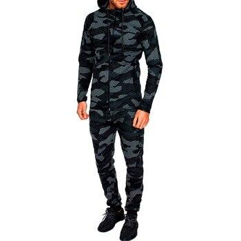 04af5ccae Litthing para conjuntos de dos piezas de camuflaje impreso sudaderas con  capucha suéter pantalones ropa deportiva traje de chándal traje de otoño  camuflaje ...