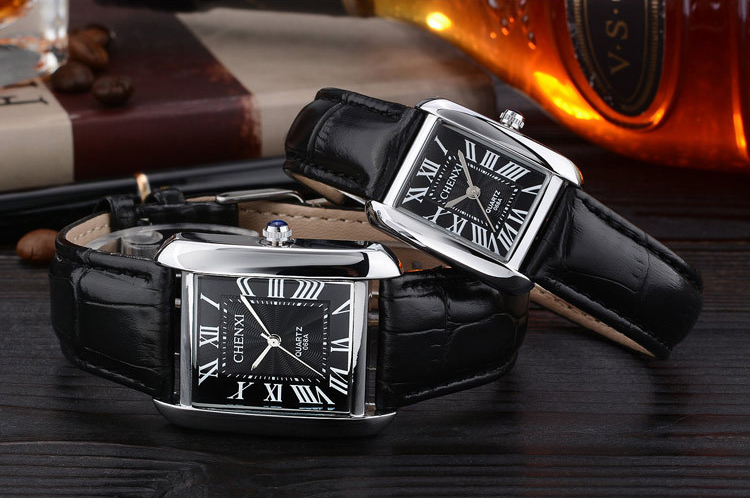 купить Fashion CHENXI Brand Couple Woman Quartz Watch Men Business Wristwatch Female Elegant Fashion Square Leather Dress Wristwatches недорого