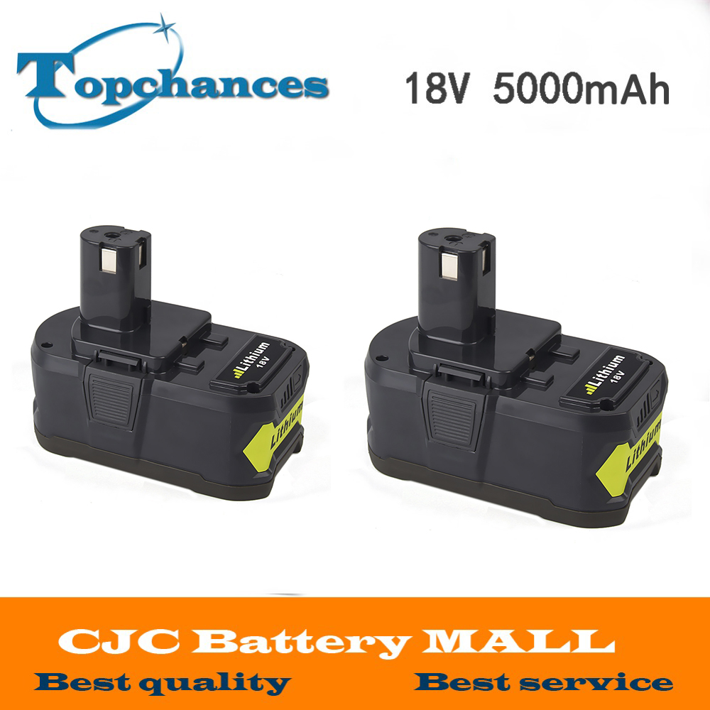 2x High Capacity New 18V 5000mAh Li-Ion For Ryobi Hot P108 RB18L40 Rechargeable Battery Pack Power Tool Battery for Ryobi ONE+