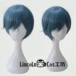 Peruca para cosplay de anime, peruca curta e preta phantomhive sky, com boné