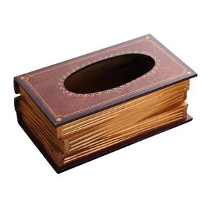 Image 2 - PQZATX רטרו סגנון ספר צורת רקמות BoxMin תיבת רקמות תיבה מפוארת אירופה Retangle מפית נייר בעל טבעת רקמות תיבת אחסון