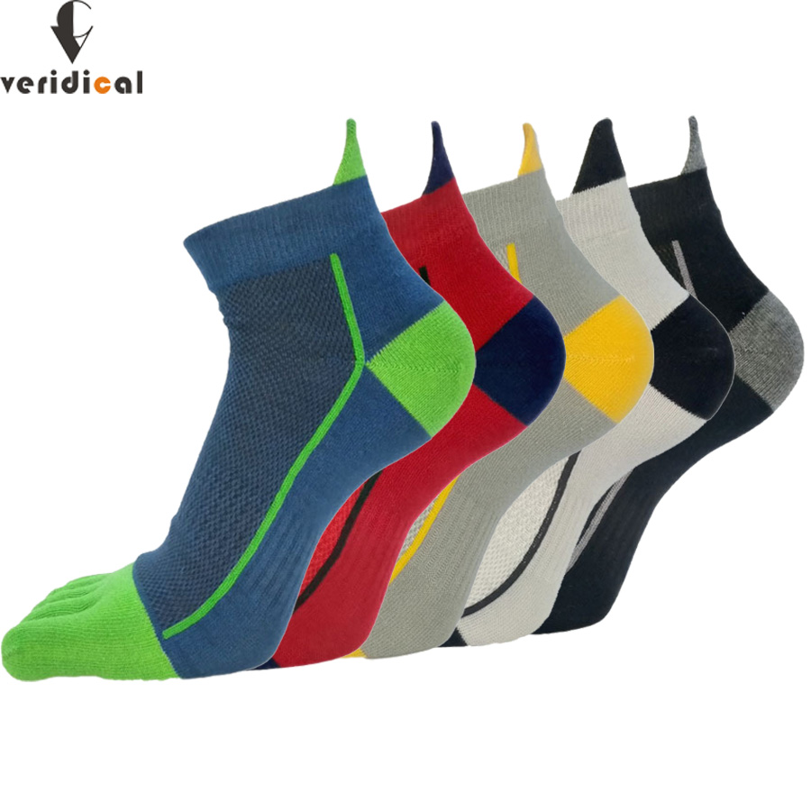 VERIDICAL 5 Pairs/lot Cotton Toe Socks Men Boy To Protect Ankle Socks Five Finger Socks Compression Mesh Crew Boat Socks Fashion