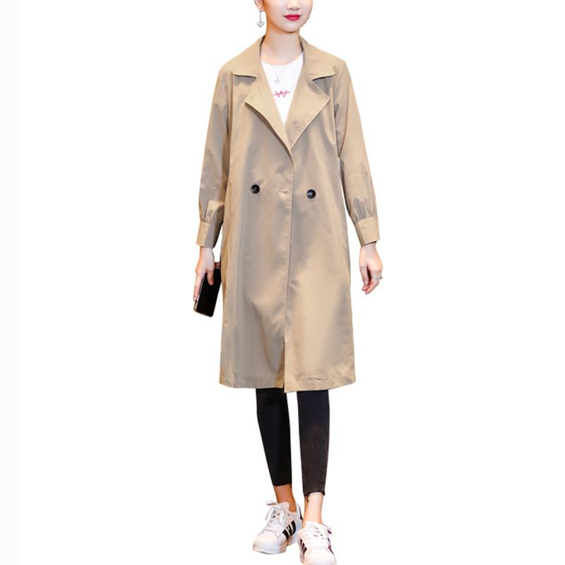 2019 Spring Autumn New Women's Casual   Trench   Coat Oversize Double Breasted Vintage Solid Color Outwear Loose Thin Clothing D223