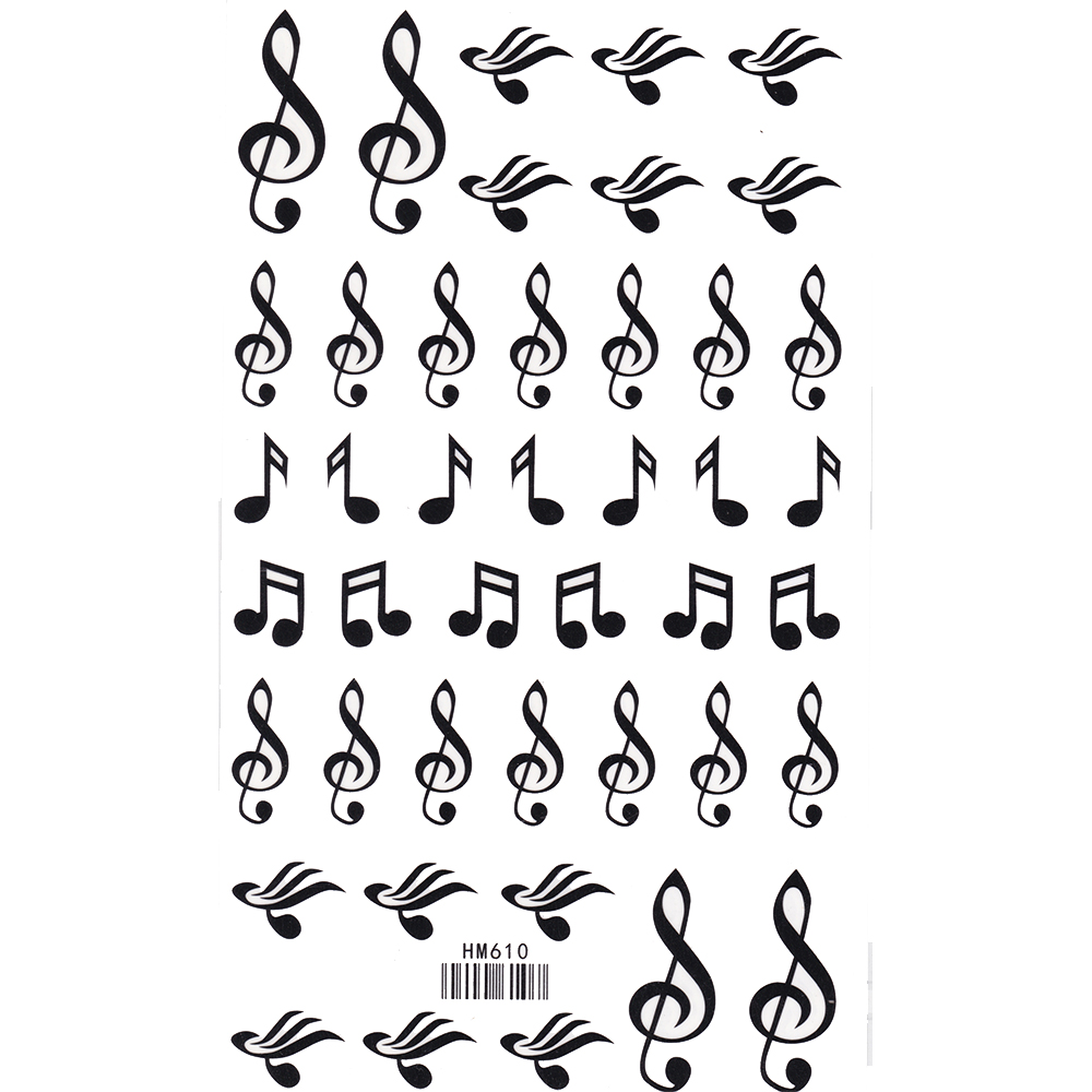 King Horse Music Symbols Footsteps Note Waterproof Tattoos 17x10cm