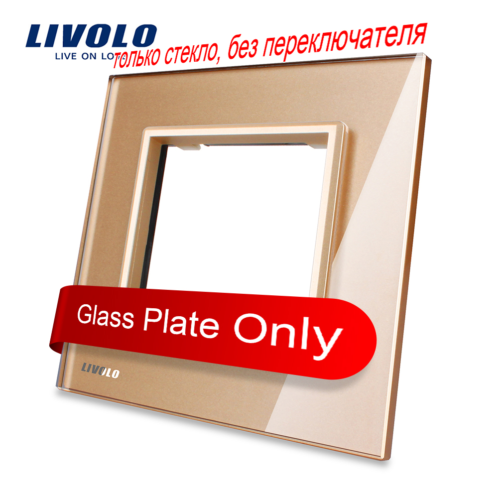 Livolo Luxury Golden Pearl Crystal Glass, 80mm*80mm, EU standard, Single Glass Panel For Wall Socket,VL-C7-SR-13