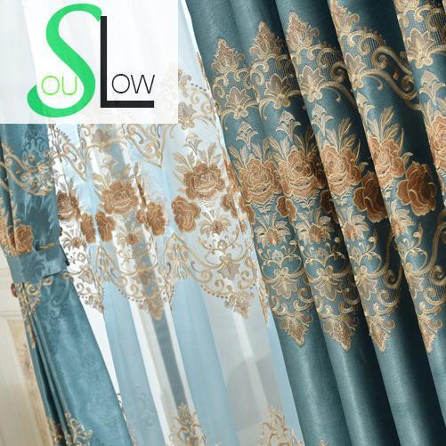 tissu brode vert emeraude slow soul rideaux de style europeen pour la cuisine la chambre a coucher et le tulle