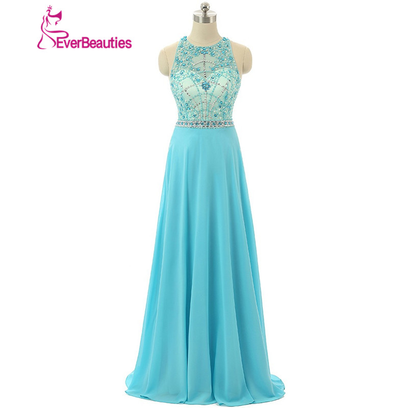 Prom     Dresses   Blue Gorgeous Crystal Beaded Everbeauty Halter Sleeveless 2019 New Arrival Sexy Special Occasion   Dresses