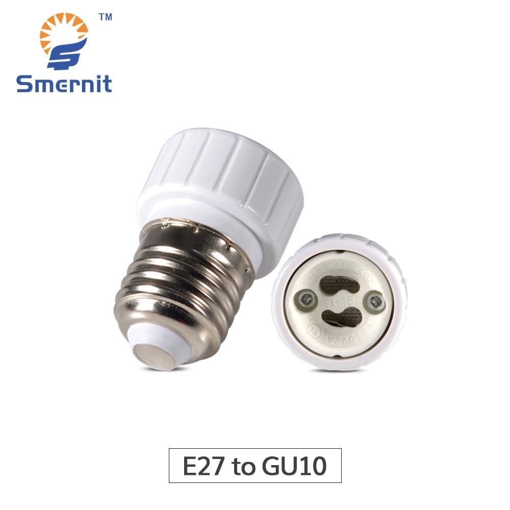 Smernit E27 to GU10 Light Base Converter LED Lamp Base Adapter Socket Conversion Light Bulbs Base Screw Adapter