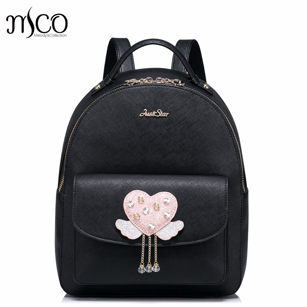 Brand Design Love Wings Collage Chains Beads PU Women Leather Girls Ladies Backpack School Travel Shoulders Bags Student Daypack 2017 new brand ballet girl embroidery drawstring pu women leather ladies backpack shoulders school travel bags student daypack