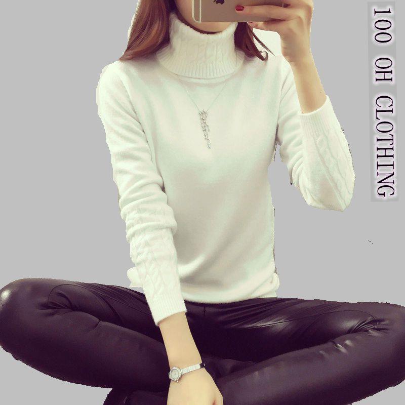 Ochlothホット2018年春秋冬プルオーバーファッションタートルネックセーター女性ツイスト肥厚スリムプルオーバーセーター