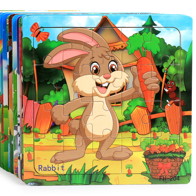 20PCS Wooden Puzzles Toys Kids 3D Cartoon Animals Puzzle Toy Child High Quality Wood Interesting Educational Toys For Baby Gifts
