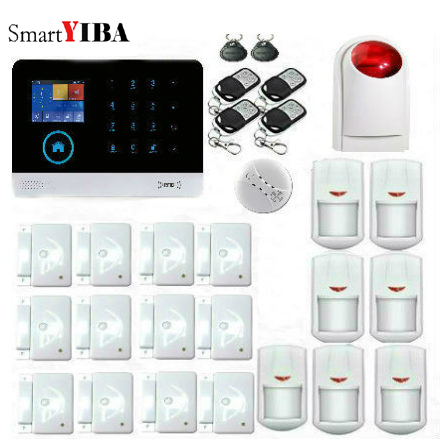 SmartYIBA 433MHz 3G WiFi Smart Home Security System DIY Kits Burglar Alarm with Touch Keypad Color Display RFID Card Auto Dial