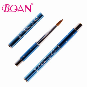 Image 5 - BQAN 10pcs #6#8#10#12#14#16#18 Kolinsky Sable Brush Acrylic Nail Art Brush Nail Art Brush Blue Metal Crystal Acrylic Salon 2017