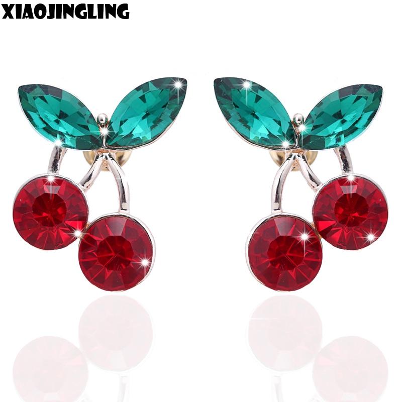 ̀ •́ Xiaojingling ronda moda pretty cereza pendiente rojo diamante ...
