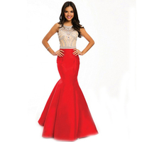 Red Mermaid Evening Dresses 2016 Sexy See Though Beaded Top Open Back Floor Length Party Prom Evening Gowns Vestido Longo De