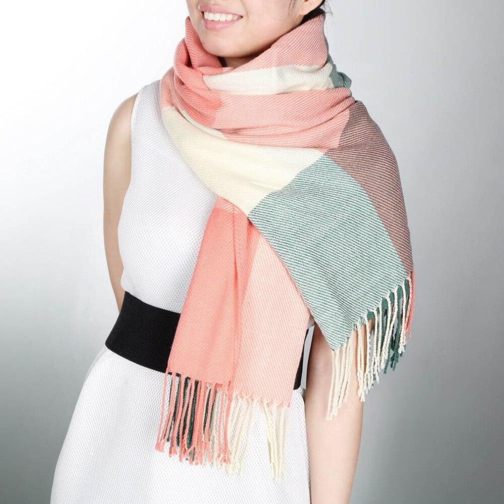 Elegant Women Lady Tassels Blanket Oversized Tartan Scarf Plaid Checked Wrap Shawl Bloggers Favourite Best Gift 2017 New Arrival