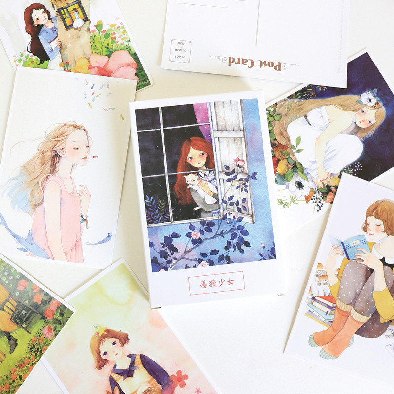 30 Pcs/set Flower And Girl Postcard Bookmark Greeting Card Letter Paper School Office Stationary Paper Supply
