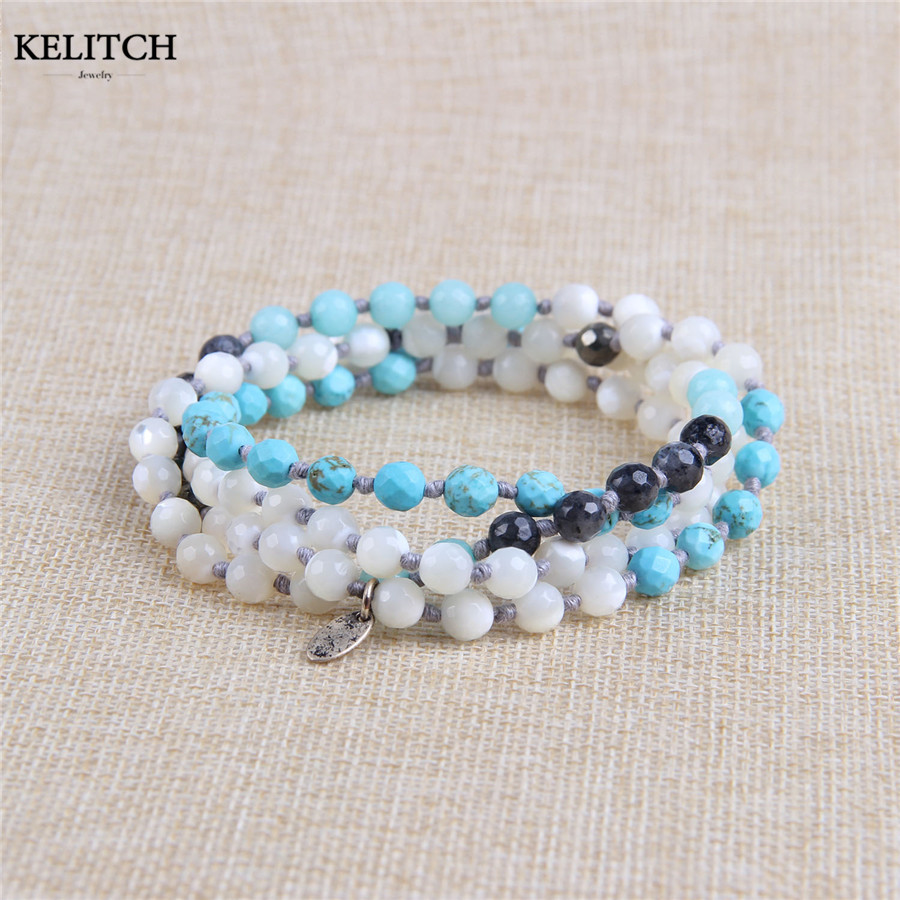 KELITCH Jewelry 1Pcs Natural Stone& Mother Pearl & Onyx Beaded Necklaces For Women Handmade Wrap Bracelet Drop Shipping