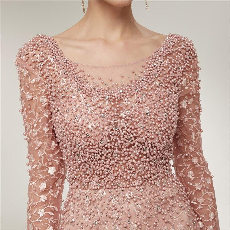 Luxe robes de soirée dentelle 2019 sirène manches longues perles cristaux rose femmes formelle Robe de soirée Robe de bal Robe de soirée - 4