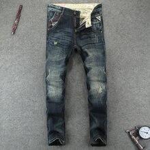 Italienische Mode Designer Männer Jeans 100% Baumwolle Klassische Jeans  Homme Slim Fit Zerrissene Jeans Homme Marke Hohe Qualitä. 28931d9a13