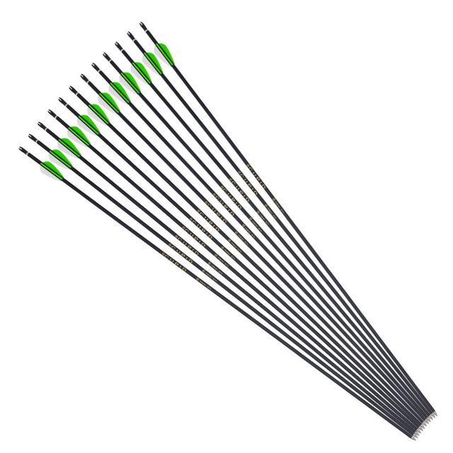 6/12/24 Pcs Mixed Carbon Arrow 800 Diameter 6mm Plastic Feather Composite / Recurve Bow Arrow Archery