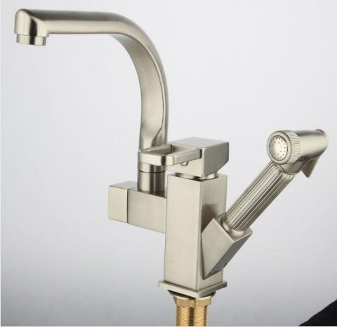 Free Shipping!Luxury Pull Out Spray Kitchen Faucet, Removable Mixer, 2 Function Tap.brushed nickle Kitchen Mixer tap. 1pcs/lot