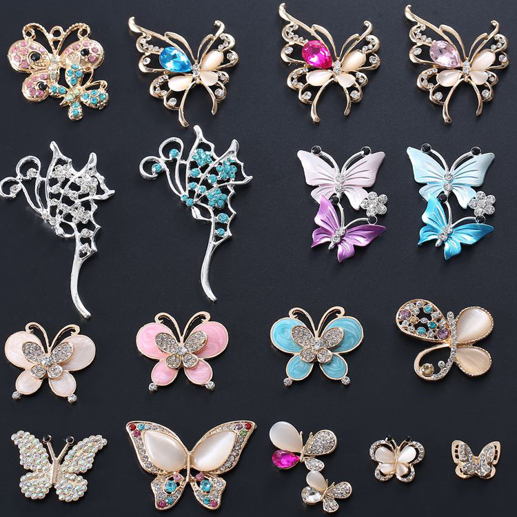 2 Pcs Beautiful Rhinestone Butterfly Crystal Embellishments Charms For Diy Jewelry Making Hair Clips Accessories Materials