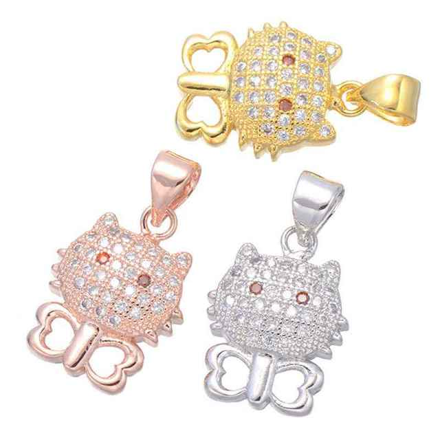720f03ac53b09 Lovely Cute Hello Kitty Cat Charms Pendant For Making Necklace Women  Fashion Jewellery Gift 3 Colors Inlay Zirconia Rhinestone-in Pendant  Necklaces ...