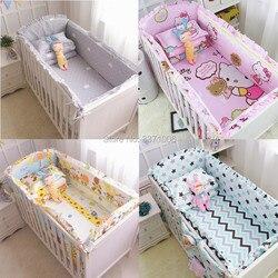 6 Pcs Cartoon Baby Beddengoed Sets Wieg Bumpers Bed Rond Wieg Lakens 100% Katoen Verdikking Aanpasbare Baby Beddengoed