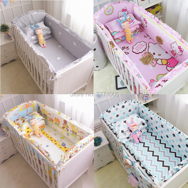 6Pcs Cartoon Baby Bedding Sets Baby Crib Bumpers Bed Around Cot Bed Sheets  100%Cotton