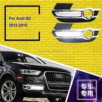 Подходит 2012 2015 Audi Q3 день противотуманные фонари Противотуманные огни Светодиодный дальнего света DRL Габаритные огни