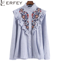 LERFEY Women Embroidery Floral Blouse Shirt Ruffles Office Ladies Shirts Blue Striped Blouses New Fashion Tops