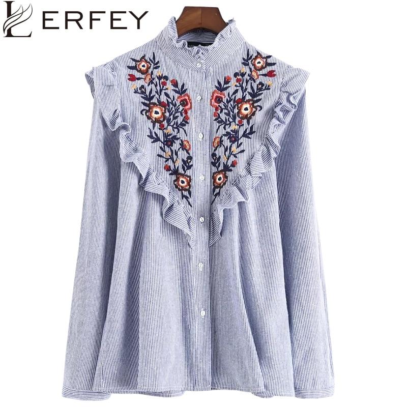 LERFEY Ženska majica za vezenje cvjetne bluze Ruffles Uredske - Ženska odjeća - Foto 1