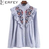Lerfey נשים רקמת ראפלס משרד גבירותיי חולצות כחול פסים חולצה פרחונית חולצה חולצות אופנה חדשה חולצות clothing