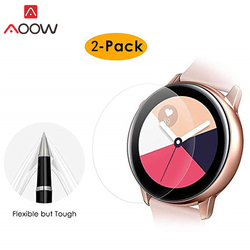 2pcs PET Protector Film For Samsung Galaxy Watch Active Soft Clear Ultra-thin 3D Curve Full Cover Screen Protective Film