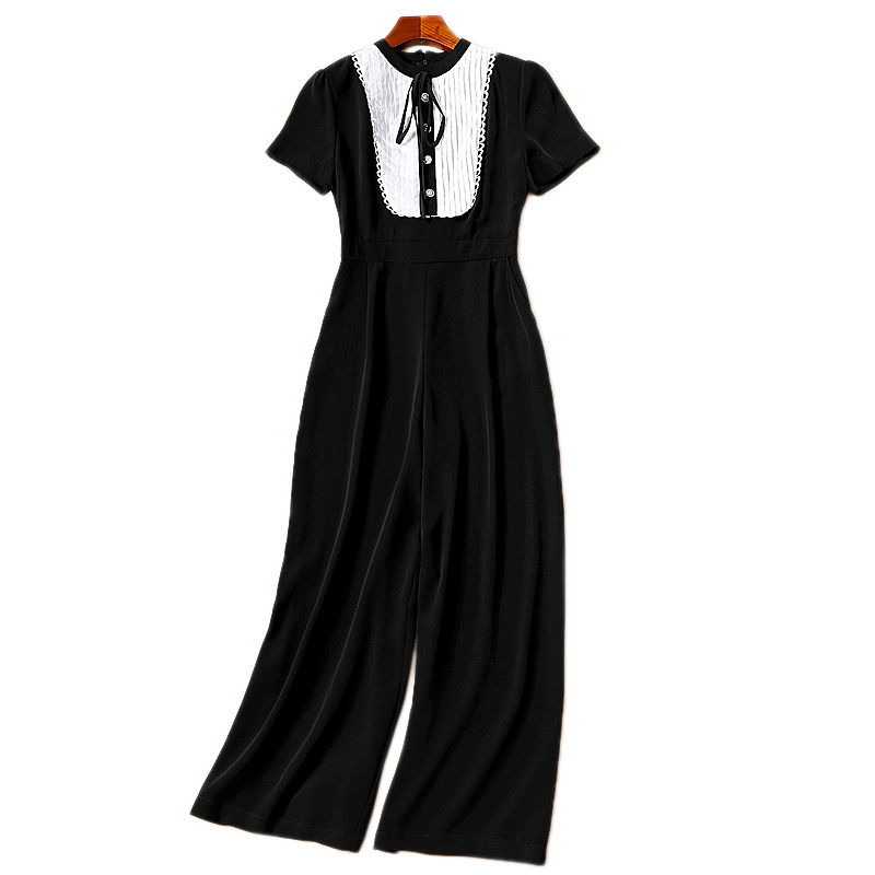 XF F 2018 Fashion Designers Summer Fall WomenS Round Neck Short Sleeved Pleated Pearl Buttons Pocket Slim Black Jumpsuit